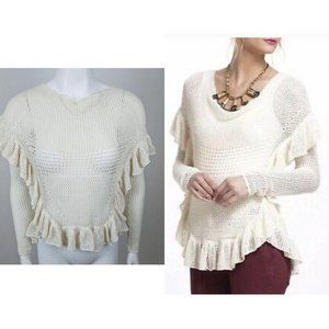 Anthropologie Angel Of The North Ruffle Sweater S